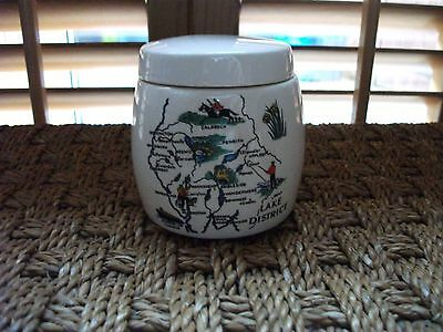 Vintage Lake District Pot/Small Ginger Jar, with Lovely Pictorial Map, VGC