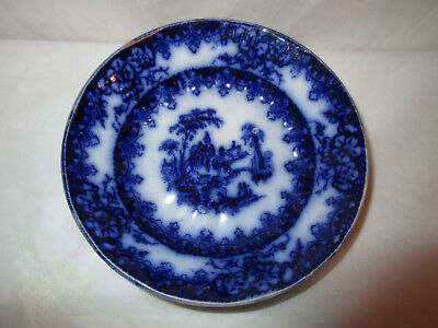 Antique 1800s Charles Meigh Flow Blue Bowl~Troy Pattern w/ Paneled Edges