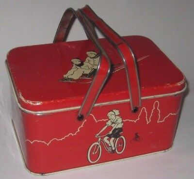 CHILD'S 1940's Outdoor SPORTS Vintage METAL Lunch PAIL w/HANDLES