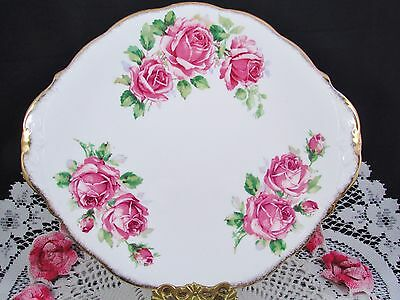 Queen Anne Lady Margaret Pink Roses Sponged Gold Cake Serving Plate