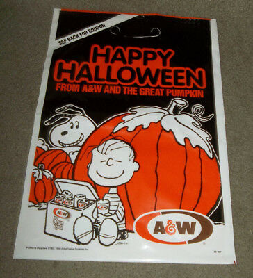 Vtg 1990 Halloween Treat Bag A&W Root Beer Advertising Peanuts Comic Strip Gang