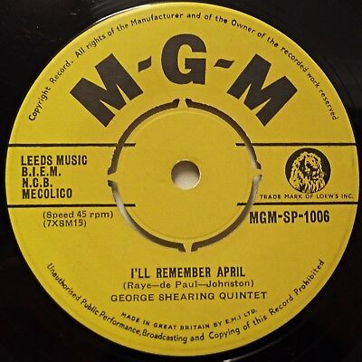 GEORGE SHEARING QUINTET - I'll Remember April / Jumping With Symphony Sid .. 45