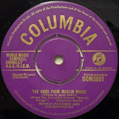 NORRIE PARAMOR - The Song From Moulin Rouge / April In Portugal .. 1953 45rpm