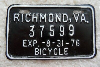 Virginia 1976 Bicycle License Plate From Richmond - Look