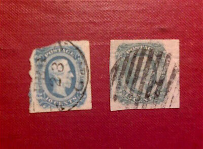 USA  Confederate 10c Stamp 1863. Used x 2.