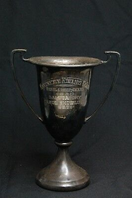 "Antique 7"" Silverplate Handled Trophy Award Cup - 1930 Scholarship Award - 309g"