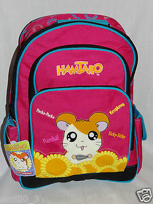 """NEW WITH TAGS HAMTARO LARGE SCHOOL PINK  12"""" x 16"""" BACKPACK"""