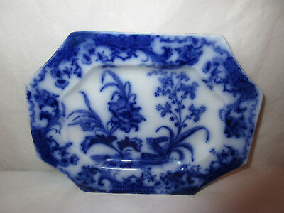 Antique 1800s Floral Flow Blue Eight-Sided Tray ~Carlton Pattern