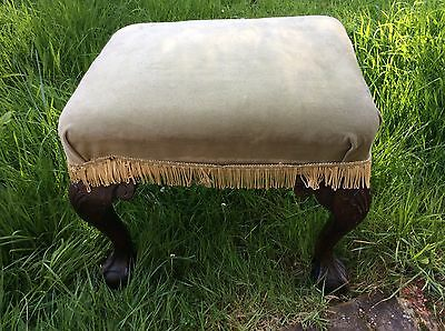Beautiful Vintage Dark Wood Foot Stool With Ball & Claw Feet