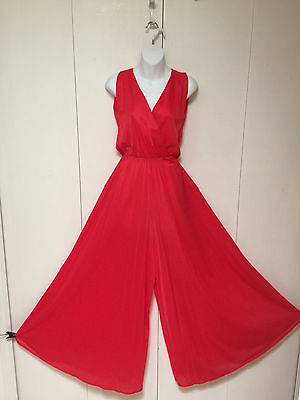 """VTG Red Palazzo Romper Jumper Sweeping Wide Leg Pants Hostess Nightgown Tall 58"""""""