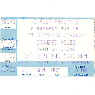 CROWDED HOUSE Concert Ticket Stub CHANDLER AZ 9/14/91 COMPADRE STADIUM WOODFACE