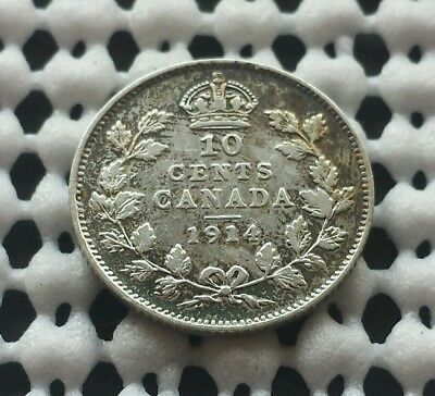 1914 Dime ❀ King George V ❀ Canada Silver 10 Cent Coin