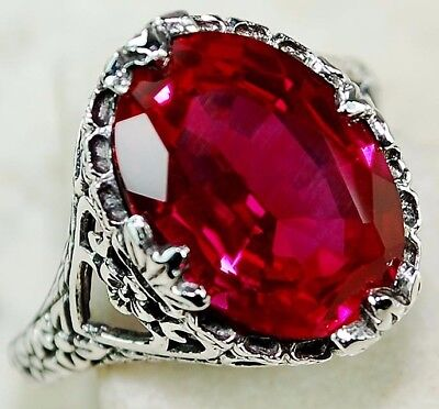 6CT Ruby 925 Solid Genuine Sterling Silver Art Deco Filigree Ring Jewelry Sz 9