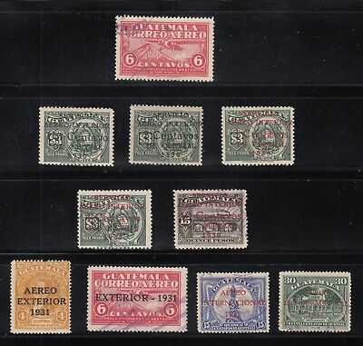 Guatemala 1930-1931 Airmails Sc C7-C16 cplte MNH or fine used