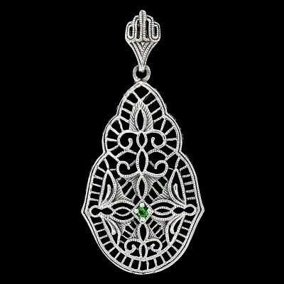 Emerald 925 Solid Sterling Silver Victorian Style Filigree Pendant Jewelry