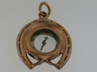 Antique Victorian Gold Fill Lucky Horse Shoe Working Compass Fob Charm Pendant