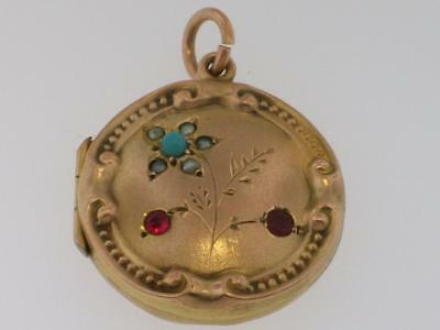 Antique Victorian 9Ct Gold Locket Turquoise Ruby Seed Pearl Fob Charm Pendant