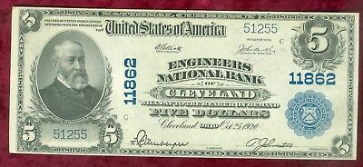 Series of 1902 $5.00 Large National-Engineers National Bank of Clveland-Near CU