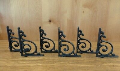 "6 BROWN ANTIQUE-STYLE 5.5"" SHELF BRACKETS RUSTIC CAST IRON WAVE DESIGN wall"