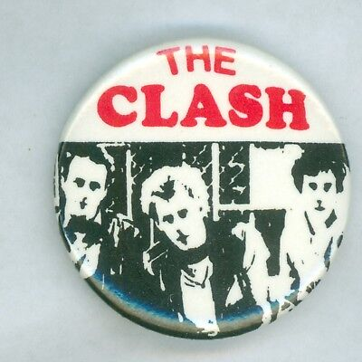 Vintage 1980s The Clash Music Tour Promo Pinback Button Red