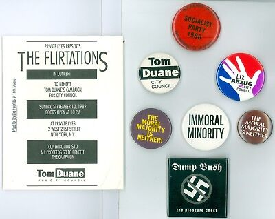 7 Vintage 1980s-90s NewYork City Gay Political Pinback Buttons &1 Card Tom Duane