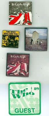 4 Vintage 1970s-89 The Who Music Tour LP Promo Pinback Buttons & backstage pass