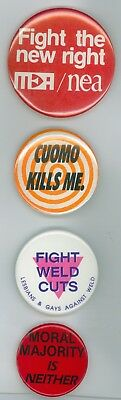 4 Vintage 80s-90s Gay Voter Pride Protest Cause Pinback Buttons Cuomo Weld Vote