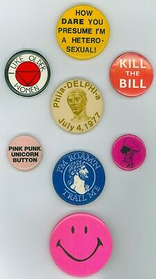 8 Vintage 1970s-80s Gay Rights Pride Cause Pinback Buttons - The Bill