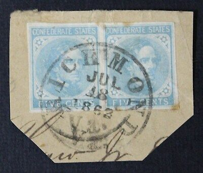 CKStamps: US Confederate States Stamps Collection Scott#6 Used on-Piece, Crease