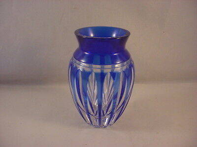 Vintage Hoya Cobalt Cut to Clear Crystal Miniature Vase Perfect!
