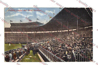 CHICAGO BASEBALL FEDERAL LEAGUE PARK - WHALES ?   - circa 1915 Postcard GRADE 2