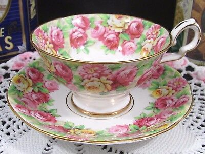 Royal Stafford Rosanne Pink & Yellow Roses Tea Cup And Saucer