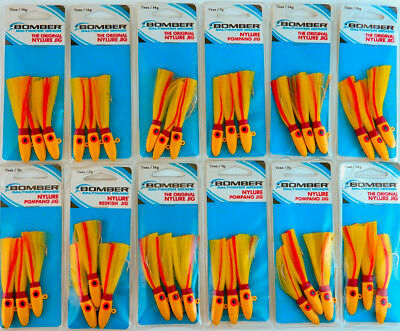 *(Lot Of 12) Bomber Original Nylure Jig 1/2Oz Bswgny1203Y Yellow Yellow Red