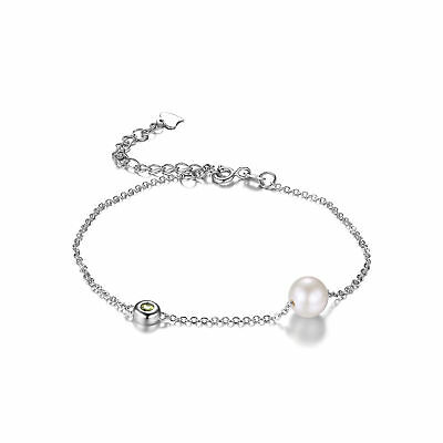 JewelryPalace 8.5mm Freshwater Cultured Pearl Natural Peridot 925 SterlingSilver