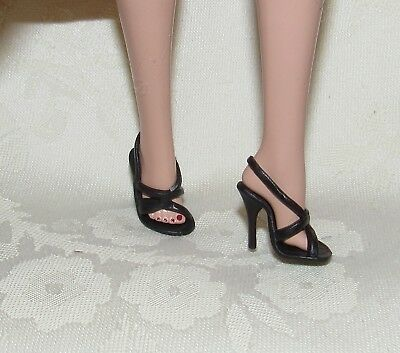 Barbie Silkstone Stunning In The Spotlight Black Strappy Sandals High Heel Shoes