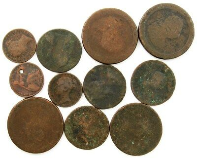 Lot of 11 Old British Copper(Culls)- Farthings ½ Penny & Penny - King George II