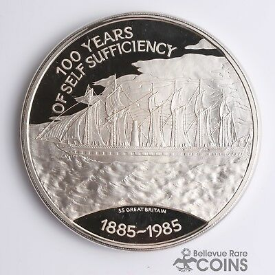 "1985 Falkland Islands Proof ""100 Years of Self Sufficiency"".925 Silver 25 Pounds"