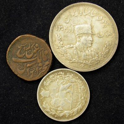 Lot of 3 Iranian Silver & Copper Coins 1853-1927 - VF/XF - Total ASW 0.924oz