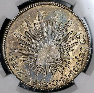 1849-Zs NGC AU 50 MEXICO Silver 8 Reales Coin POP 1/5 (17011803C)