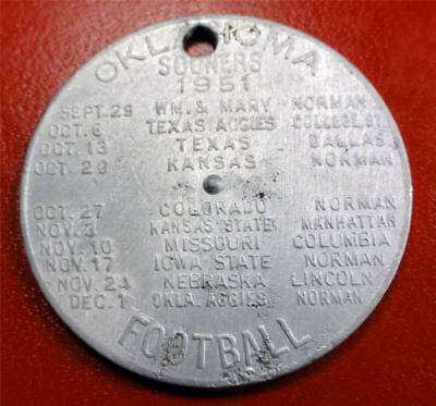 OKLAHOMA UNIV SOONERS 1951 FOOTBALL SCHEDULE Spinner Token DWTN CHEVROLET ME7615