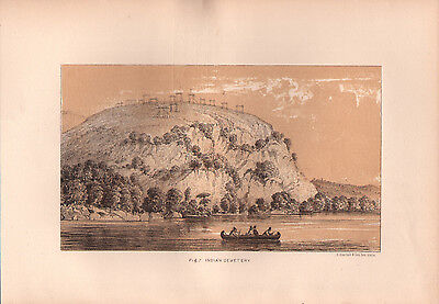 """1881 COLOR LITHOGRAPH """"Cemetery Hill"""" BURIAL CUSTOMS OF NATIVE AMERICAN INDIANS"""