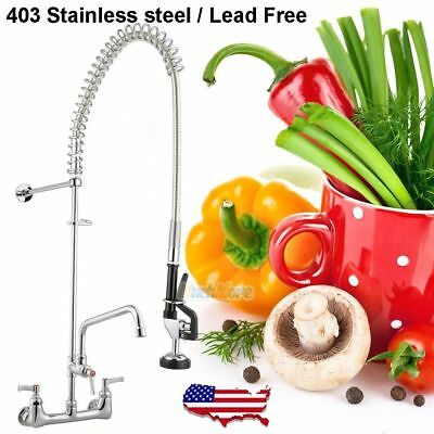 "12"" Commercial Wall Mount Kitchen Pre-Rinse Faucet w/ Add-On Restaurant Tap NEW"