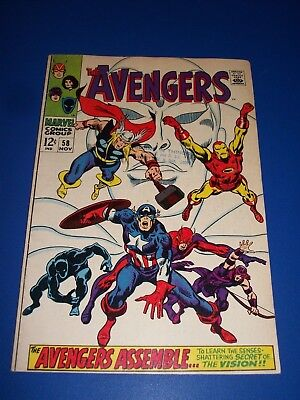 Avengers #58 Silver Age 2nd and Origin of the Vision Ultron Key Wow F/F- Beauty