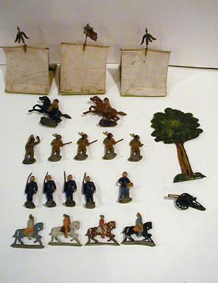 21 Piece Vintage Mix Lot of  Lead Soldiers Indians Tents Cannon