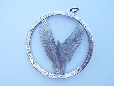 1975 Wallace Sterling Medallion Pendant Christmas Ornament Dove Peace on Earth