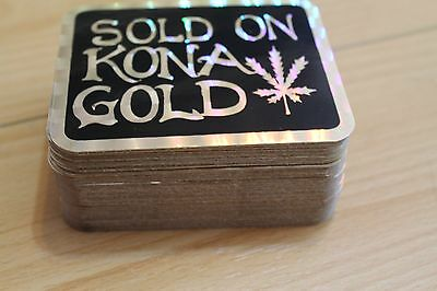 SOLD ON KONA GOLD - Funny Weed Pot Herb Hawaii 3x4in. Prism Sticker - LOT OF 100