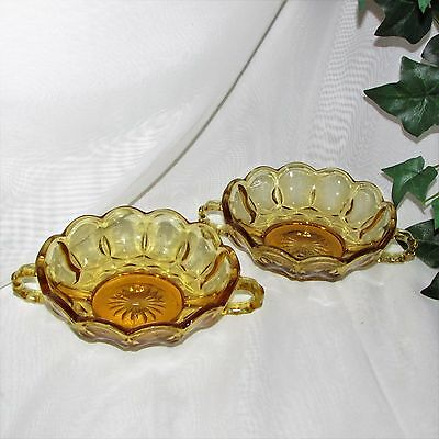 Anchor Hocking Fairfield Vintage Gold Glass Fruit Nappy Bowl Handles Lot 2 Amber