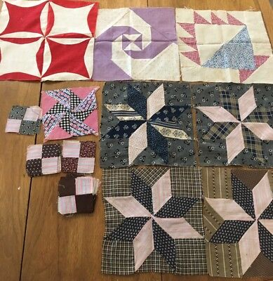 Lot Of antique 1800s Hand Stitched Quilt Blocks