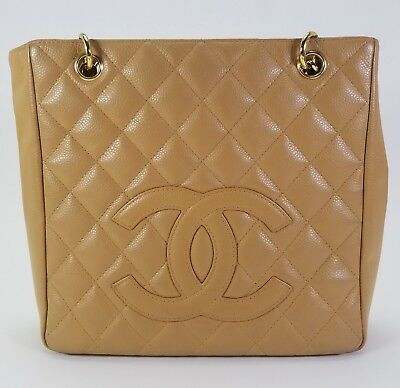 Authentic, Chanel Quilted Leather Women's Handbag Tote - Beige