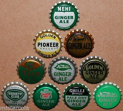 Vintage soda pop bottle caps GINGER ALE FLAVORS Lot of 10 different unused
